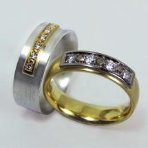 Silber mit Gelbgold, Gelbgold mit Weißgold Brillanten